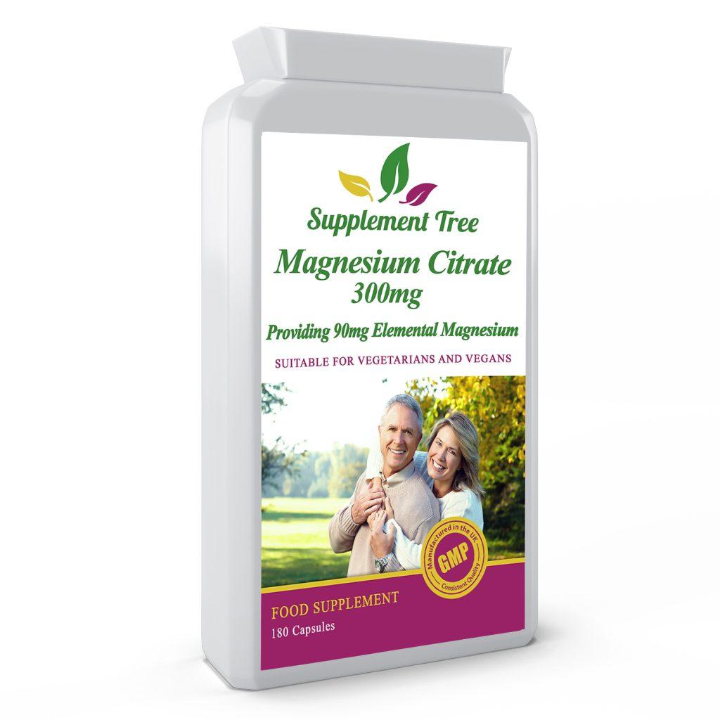 Magnesium Citrate 300mg (30% Elemental Magnesium) 180 Capsules